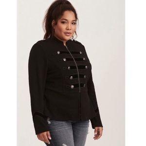 TORRID Black Military Band Blazer Jacket Velvet